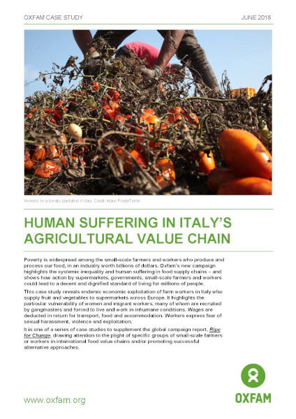 Human suffering in Italy's agricultural value chain